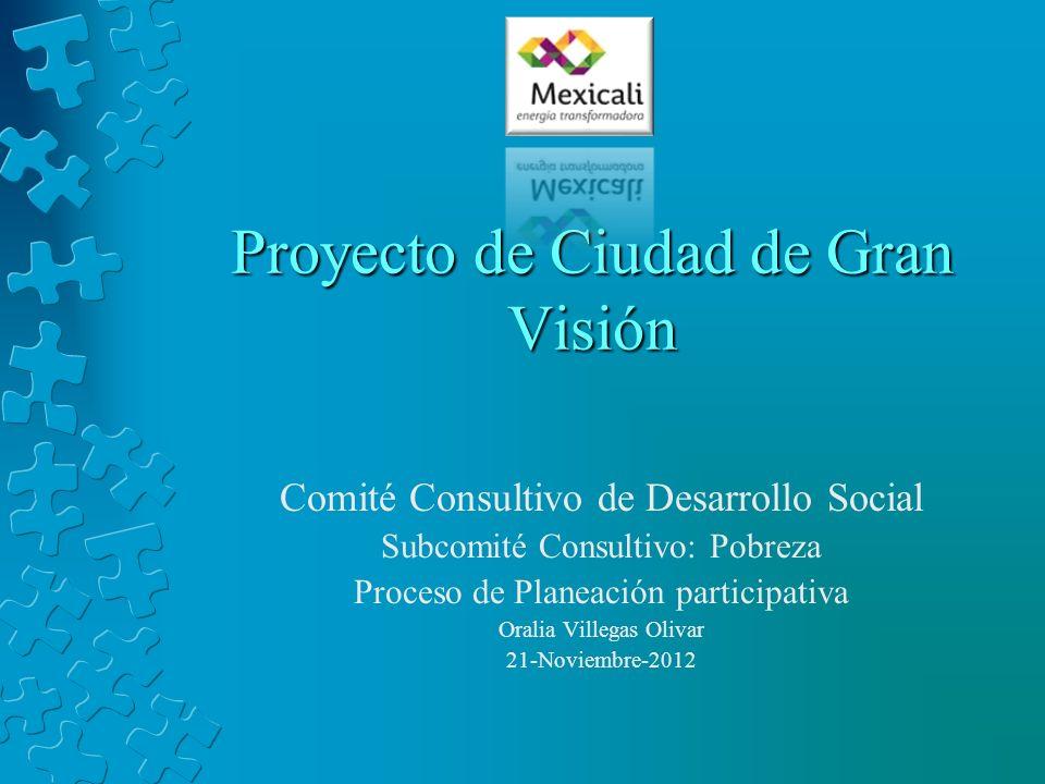 Proyecto de Ciudad de Gran Visión Comité Consultivo de Desarrollo Social Subcomité Consultivo: Pobreza Proceso de Planeación participativa Oralia Vill