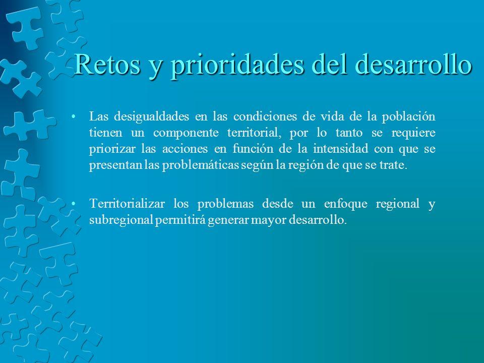Retos y prioridades del desarrollo Las desigualdades en las condiciones de vida de la población tienen un componente territorial, por lo tanto se requ