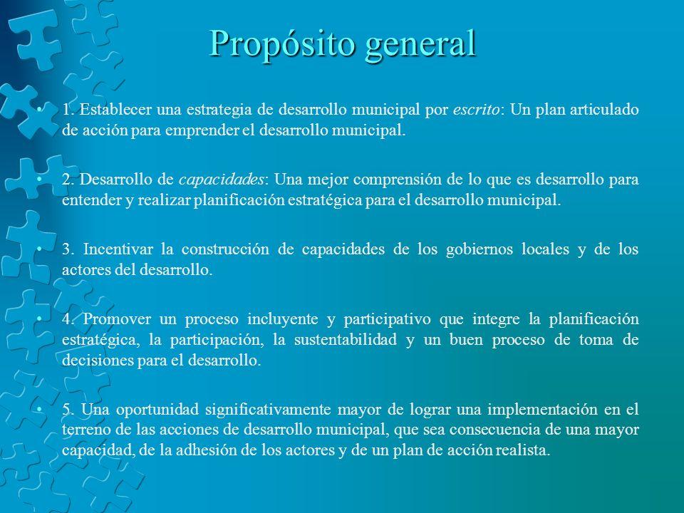 Propósito general 1. Establecer una estrategia de desarrollo municipal por escrito: Un plan articulado de acción para emprender el desarrollo municipa
