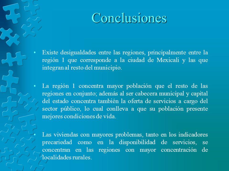 Conclusiones Existe desigualdades entre las regiones, principalmente entre la región 1 que corresponde a la ciudad de Mexicali y las que integran al r