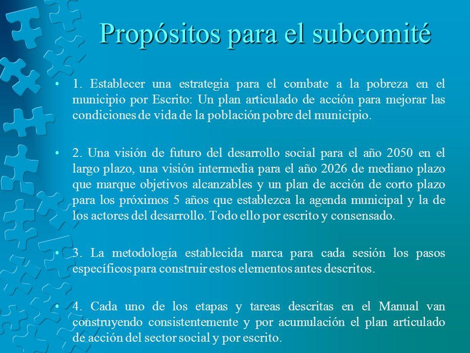 Propósitos para el subcomité 1. Establecer una estrategia para el combate a la pobreza en el municipio por Escrito: Un plan articulado de acción para