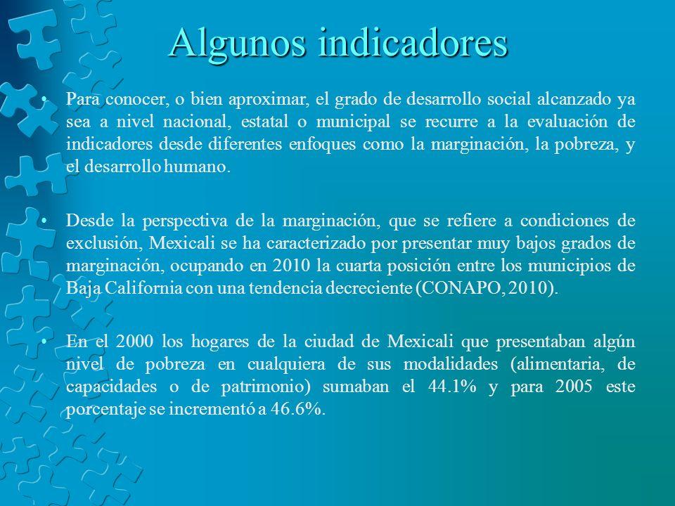 Algunos indicadores En 2010, la población ocupada con ingresos que no superaban los 2 salarios mínimos mensuales representaba el 22.35% (CONAPO, 2010).
