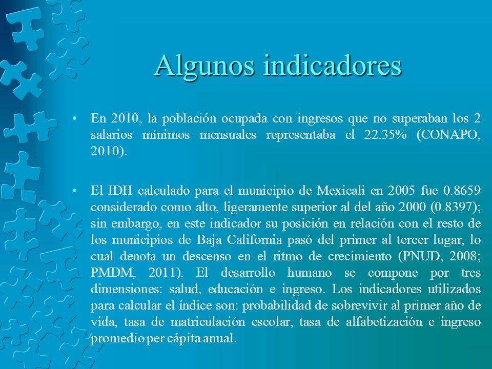 Algunos indicadores En 2010, la población ocupada con ingresos que no superaban los 2 salarios mínimos mensuales representaba el 22.35% (CONAPO, 2010)