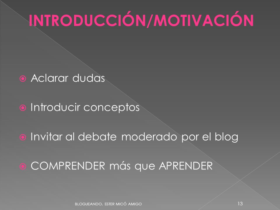 Aclarar dudas Introducir conceptos Invitar al debate moderado por el blog COMPRENDER más que APRENDER INTRODUCCIÓN/MOTIVACIÓN BLOGUEANDO. ESTER MICÓ A