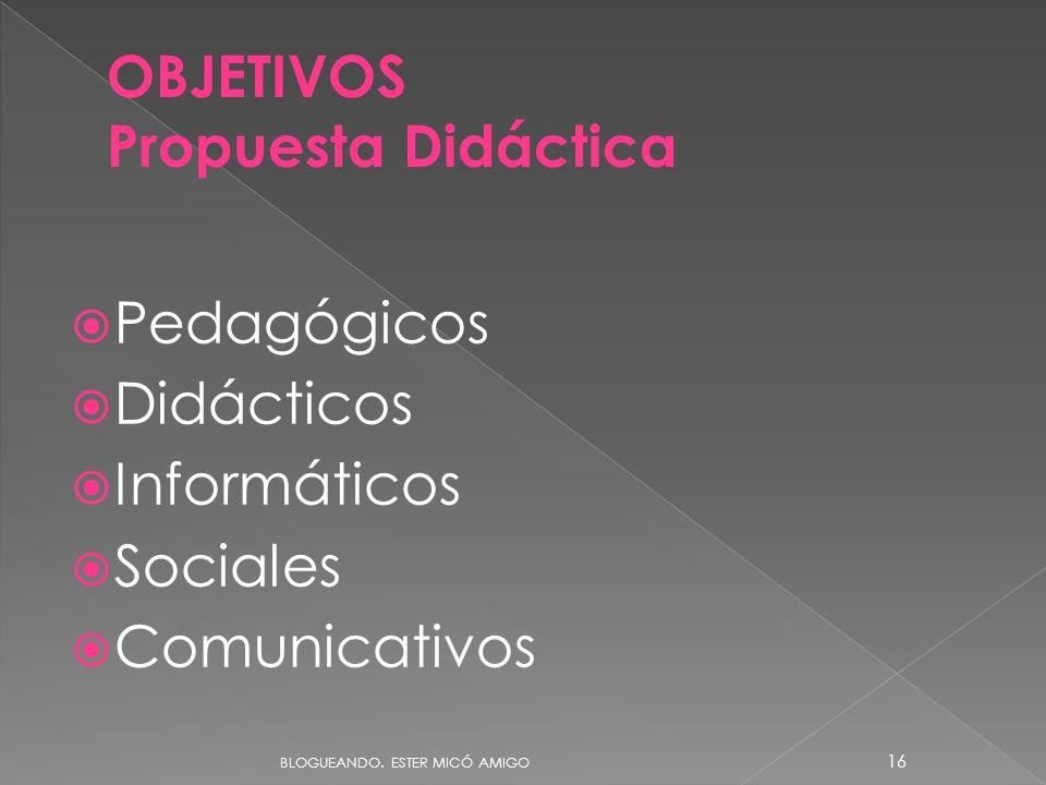 Pedagógicos Didácticos Informáticos Sociales Comunicativos OBJETIVOS Propuesta Didáctica BLOGUEANDO. ESTER MICÓ AMIGO 16