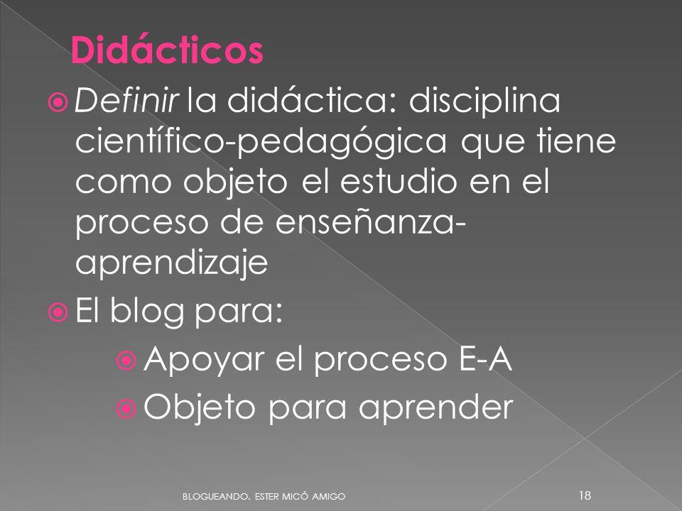 Definir la didáctica: disciplina científico-pedagógica que tiene como objeto el estudio en el proceso de enseñanza- aprendizaje El blog para: Apoyar el proceso E-A Objeto para aprender Didácticos BLOGUEANDO.