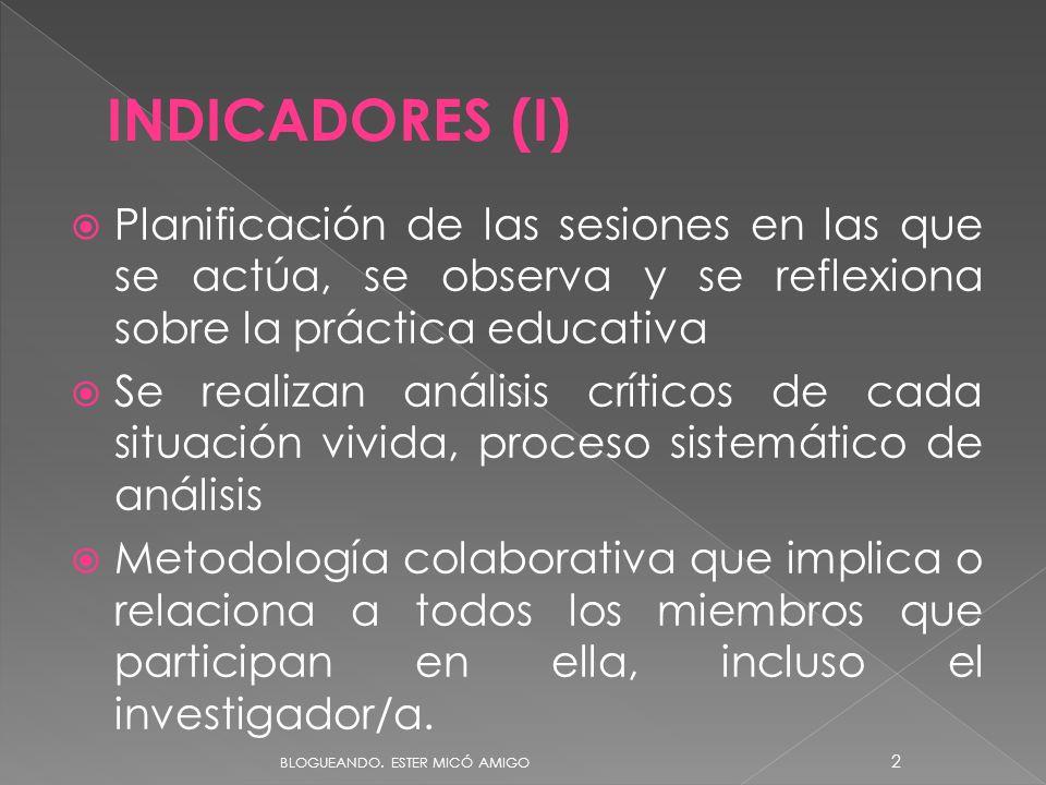 Planificación de las sesiones en las que se actúa, se observa y se reflexiona sobre la práctica educativa Se realizan análisis críticos de cada situac