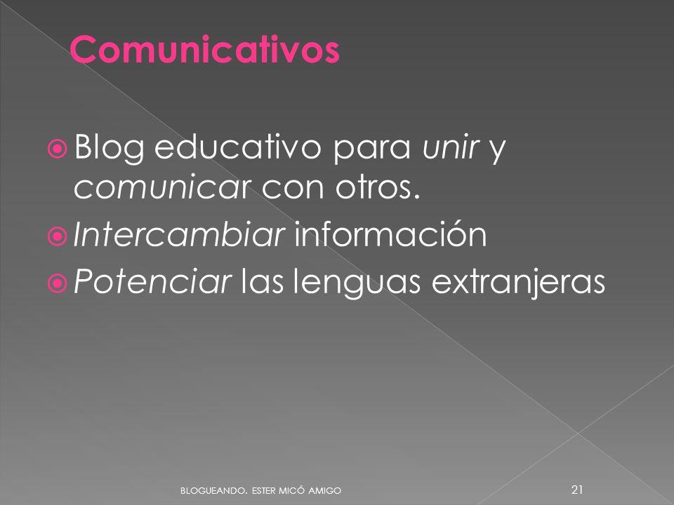 Blog educativo para unir y comunicar con otros. Intercambiar información Potenciar las lenguas extranjeras Comunicativos BLOGUEANDO. ESTER MICÓ AMIGO