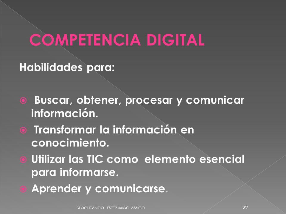 Habilidades para: Buscar, obtener, procesar y comunicar información. Transformar la información en conocimiento. Utilizar las TIC como elemento esenci