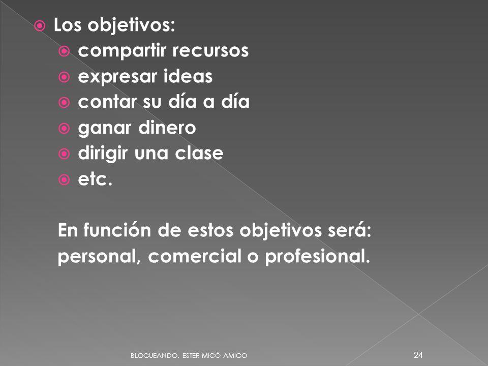 Los objetivos: compartir recursos expresar ideas contar su día a día ganar dinero dirigir una clase etc. En función de estos objetivos será: personal,