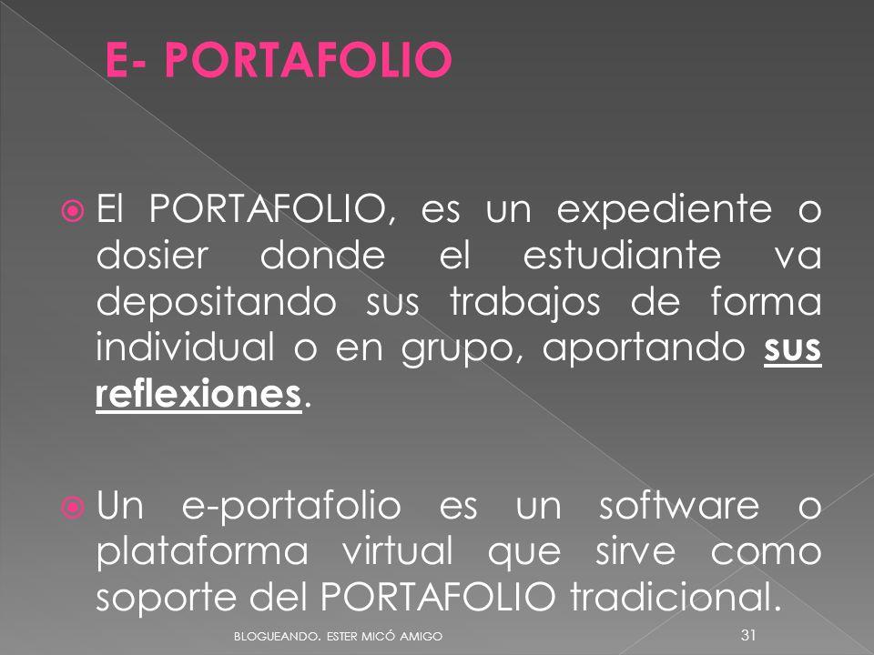 El PORTAFOLIO, es un expediente o dosier donde el estudiante va depositando sus trabajos de forma individual o en grupo, aportando sus reflexiones.