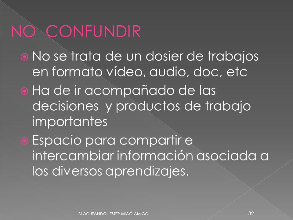 No se trata de un dosier de trabajos en formato vídeo, audio, doc, etc Ha de ir acompañado de las decisiones y productos de trabajo importantes Espacio para compartir e intercambiar información asociada a los diversos aprendizajes.