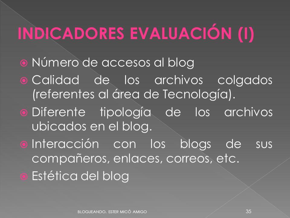 Número de accesos al blog Calidad de los archivos colgados (referentes al área de Tecnología). Diferente tipología de los archivos ubicados en el blog