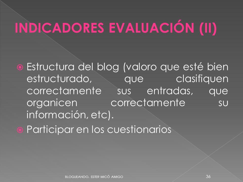 Estructura del blog (valoro que esté bien estructurado, que clasifiquen correctamente sus entradas, que organicen correctamente su información, etc).