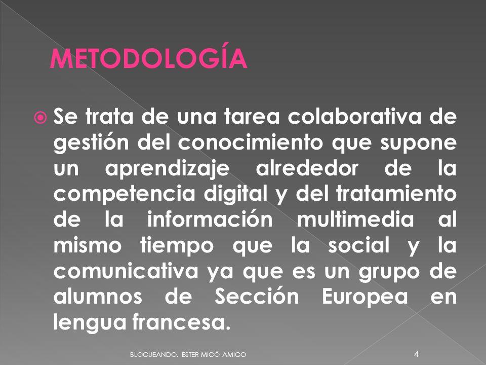 Se trata de una tarea colaborativa de gestión del conocimiento que supone un aprendizaje alrededor de la competencia digital y del tratamiento de la información multimedia al mismo tiempo que la social y la comunicativa ya que es un grupo de alumnos de Sección Europea en lengua francesa.