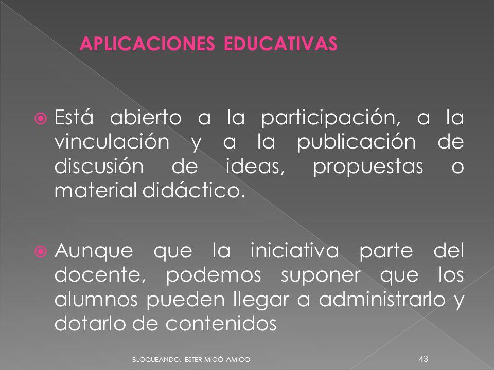 Está abierto a la participación, a la vinculación y a la publicación de discusión de ideas, propuestas o material didáctico. Aunque que la iniciativa