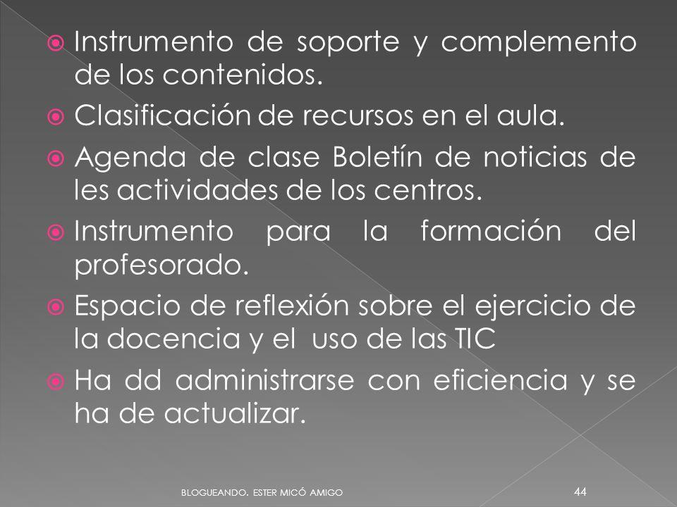 Instrumento de soporte y complemento de los contenidos. Clasificación de recursos en el aula. Agenda de clase Boletín de noticias de les actividades d