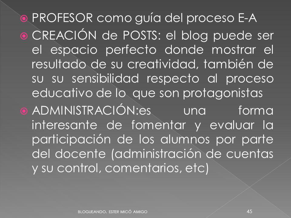 PROFESOR como guía del proceso E-A CREACIÓN de POSTS: el blog puede ser el espacio perfecto donde mostrar el resultado de su creatividad, también de s