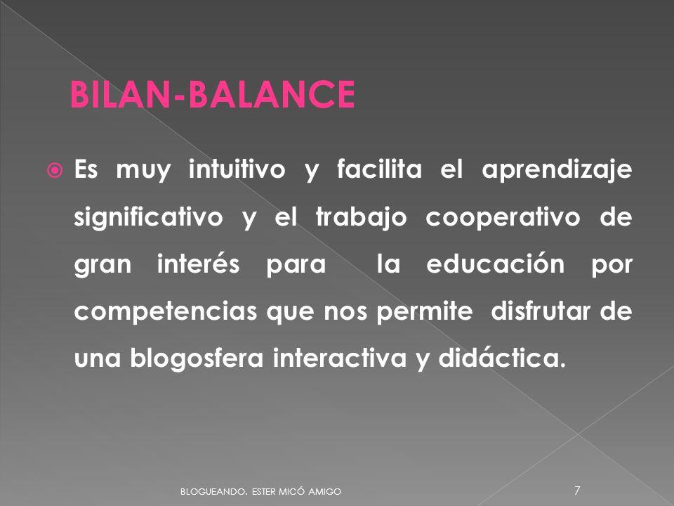 Es muy intuitivo y facilita el aprendizaje significativo y el trabajo cooperativo de gran interés para la educación por competencias que nos permite disfrutar de una blogosfera interactiva y didáctica.
