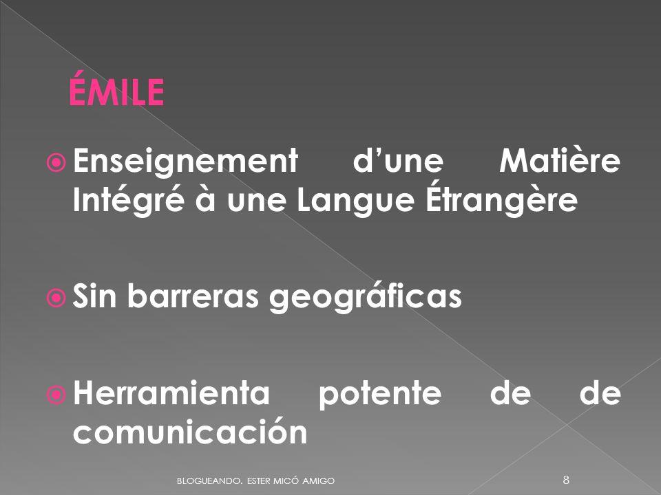 Enseignement dune Matière Intégré à une Langue Étrangère Sin barreras geográficas Herramienta potente de de comunicación ÉMILE BLOGUEANDO. ESTER MICÓ