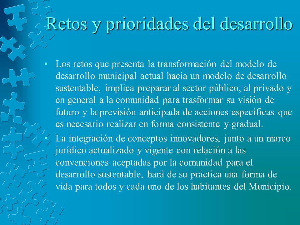 Retos y prioridades del desarrollo Los retos que presenta la transformación del modelo de desarrollo municipal actual hacia un modelo de desarrollo su