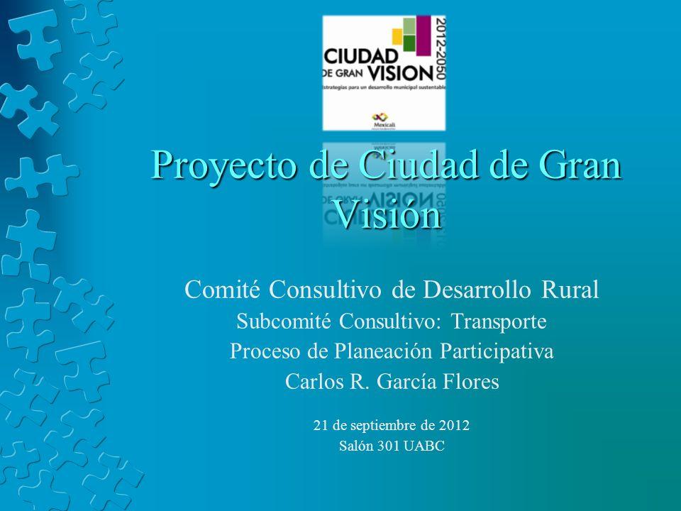 Proyecto de Ciudad de Gran Visión Comité Consultivo de Desarrollo Rural Subcomité Consultivo: Transporte Proceso de Planeación Participativa Carlos R.