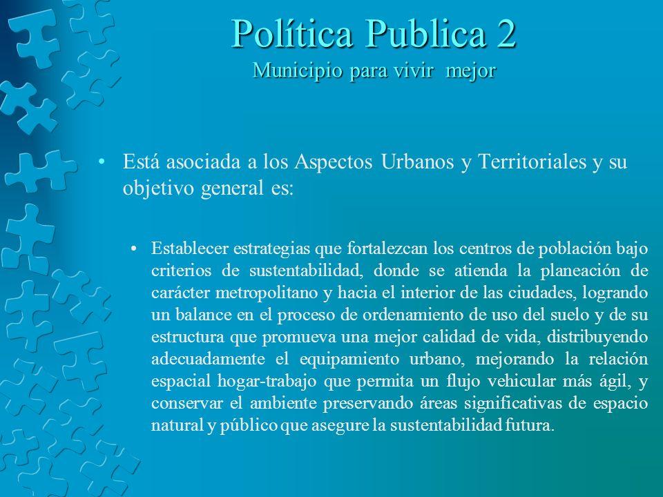 Política Publica 2 Municipio para vivir mejor Está asociada a los Aspectos Urbanos y Territoriales y su objetivo general es: Establecer estrategias qu