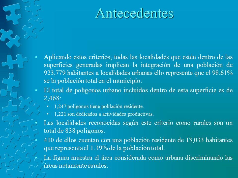 Antecedentes Aplicando estos criterios, todas las localidades que estén dentro de las superficies generadas implican la integración de una población d