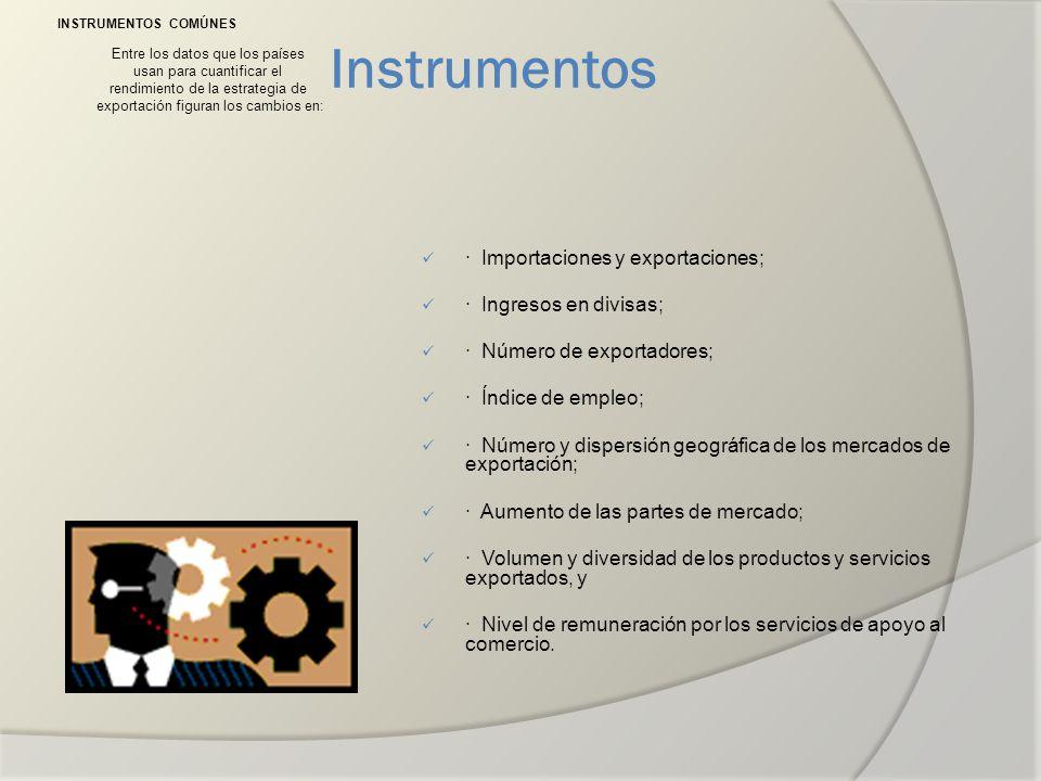 Instrumentos INSTRUMENTOS COMÚNES Entre los datos que los países usan para cuantificar el rendimiento de la estrategia de exportación figuran los camb