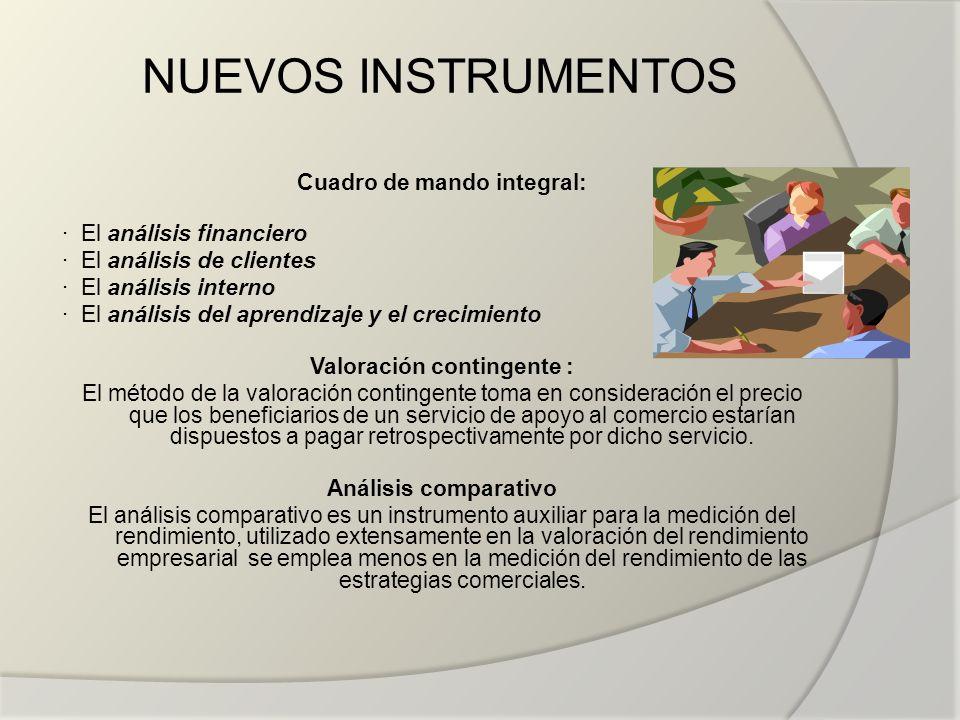 NUEVOS INSTRUMENTOS Cuadro de mando integral: · El análisis financiero · El análisis de clientes · El análisis interno · El análisis del aprendizaje y