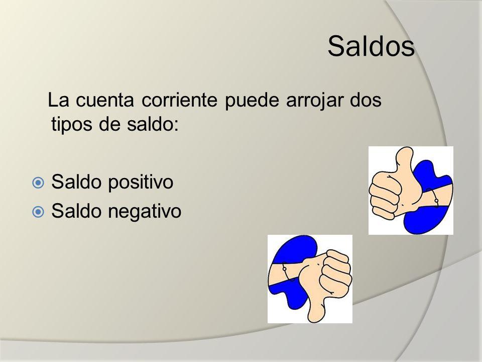 Saldos La cuenta corriente puede arrojar dos tipos de saldo: Saldo positivo Saldo negativo