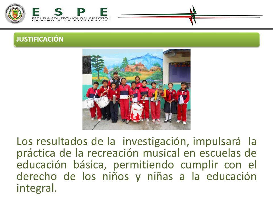 JUSTIFICACIÓN Los resultados de la investigación, impulsará la práctica de la recreación musical en escuelas de educación básica, permitiendo cumplir