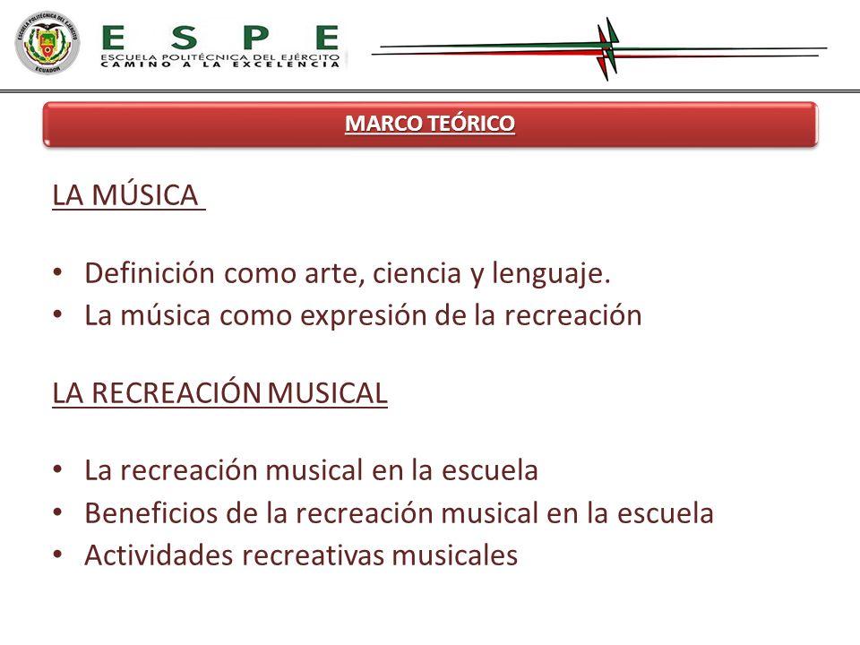 MARCO TEÓRICO LA MÚSICA Definición como arte, ciencia y lenguaje. La música como expresión de la recreación LA RECREACIÓN MUSICAL La recreación musica