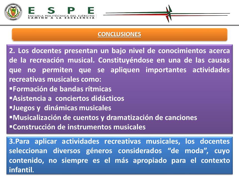 CONCLUSIONES 3.Para aplicar actividades recreativas musicales, los docentes seleccionan diversos géneros considerados de moda, cuyo contenido, no siem