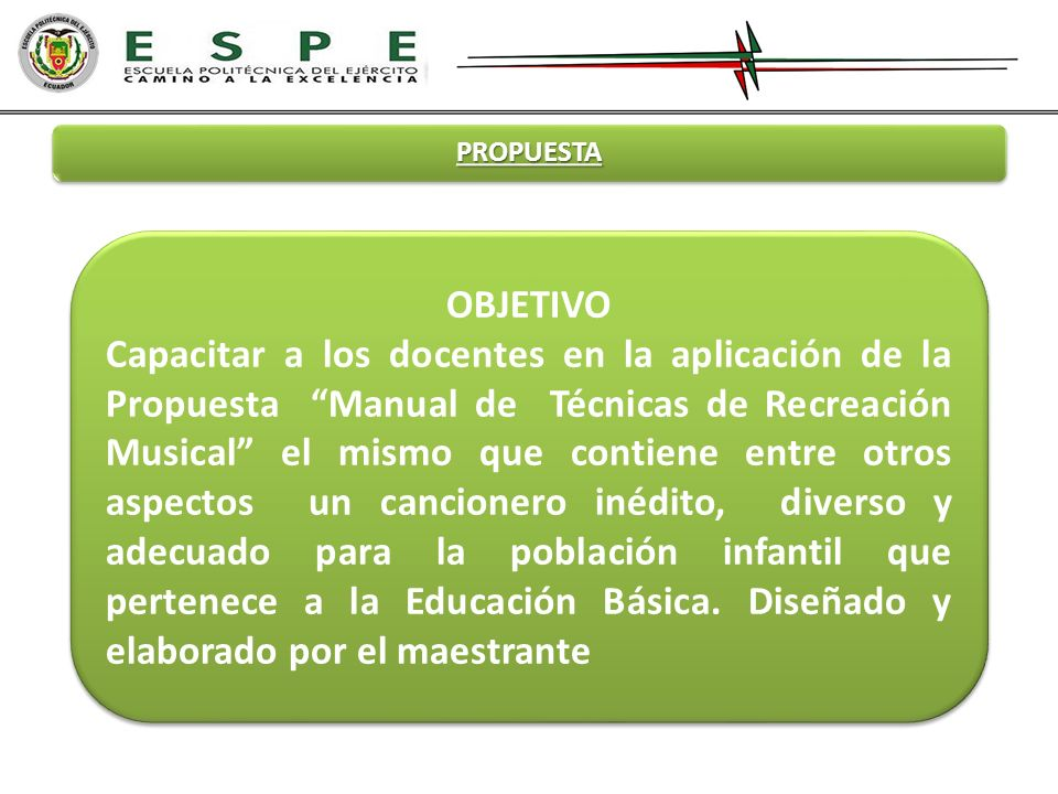 PROPUESTA OBJETIVO Capacitar a los docentes en la aplicación de la Propuesta Manual de Técnicas de Recreación Musical el mismo que contiene entre otro