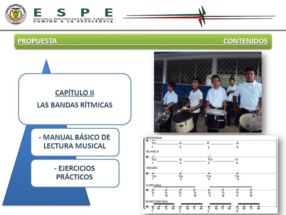 PROPUESTA CONTENIDOS CAPÍTULO II LAS BANDAS RÍTMICAS - MANUAL BÁSICO DE LECTURA MUSICAL - EJERCICIOS PRÁCTICOS