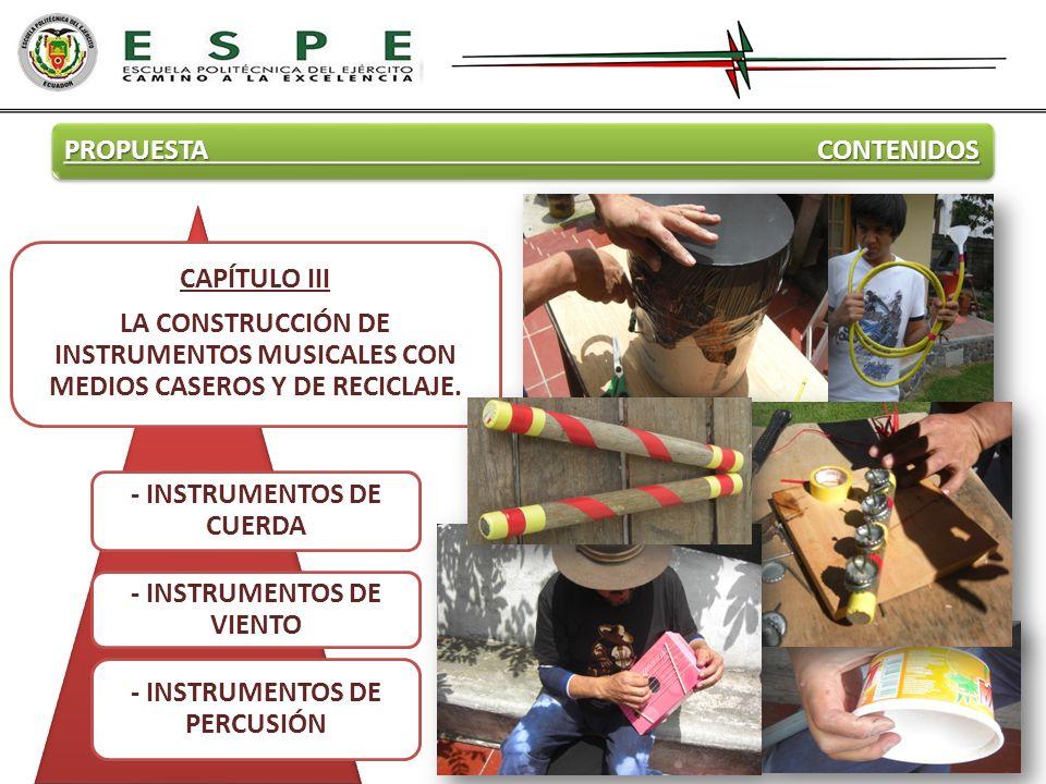 PROPUESTA CONTENIDOS CAPÍTULO III LA CONSTRUCCIÓN DE INSTRUMENTOS MUSICALES CON MEDIOS CASEROS Y DE RECICLAJE. - INSTRUMENTOS DE CUERDA - INSTRUMENTOS