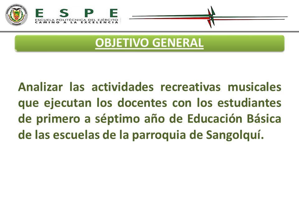 OBJETIVO GENERAL Analizar las actividades recreativas musicales que ejecutan los docentes con los estudiantes de primero a séptimo año de Educación Bá