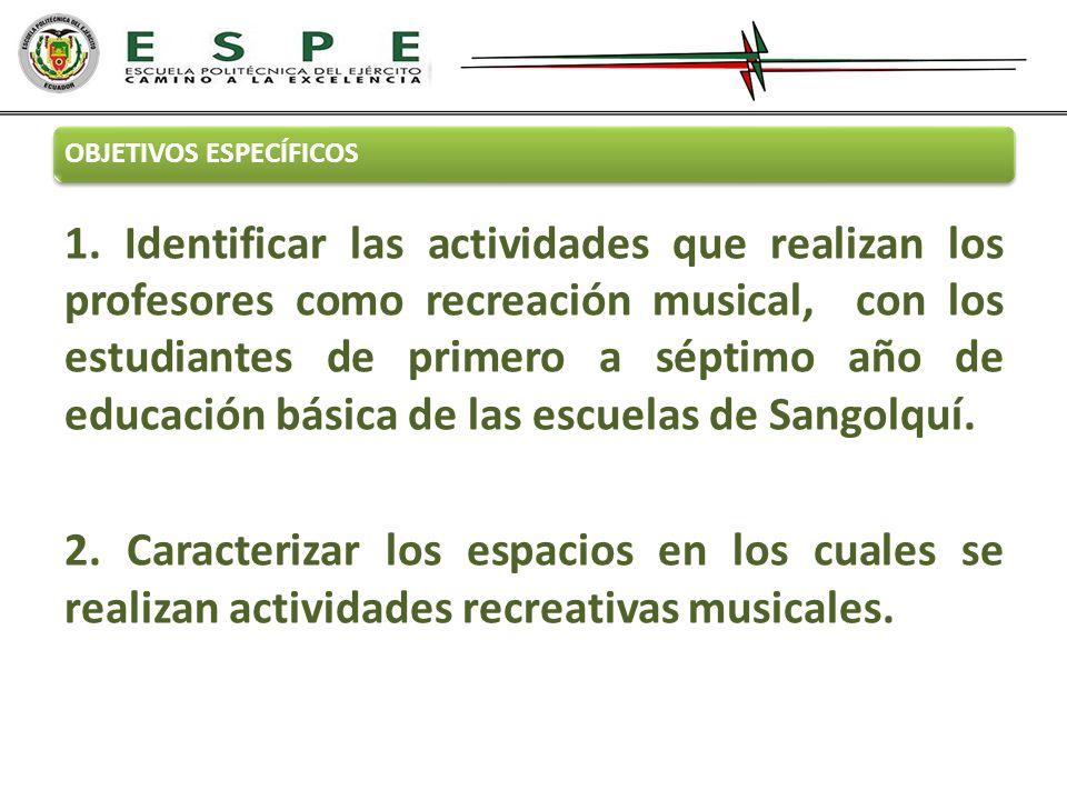 OBJETIVOS ESPECÍFICOS 1. Identificar las actividades que realizan los profesores como recreación musical, con los estudiantes de primero a séptimo año