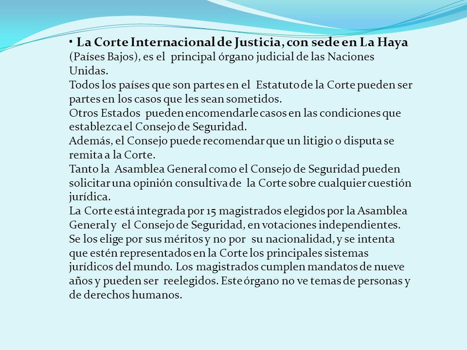 La Corte Internacional de Justicia, con sede en La Haya (Países Bajos), es el principal órgano judicial de las Naciones Unidas. Todos los países que s