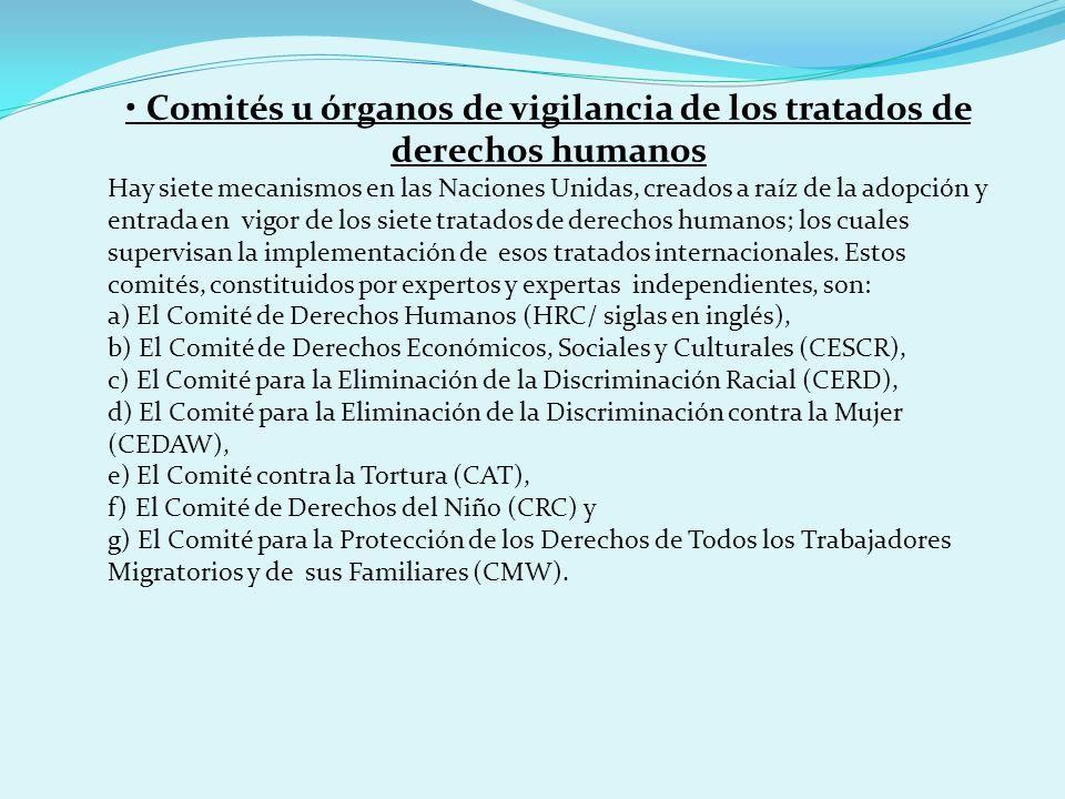 Comités u órganos de vigilancia de los tratados de derechos humanos Hay siete mecanismos en las Naciones Unidas, creados a raíz de la adopción y entra