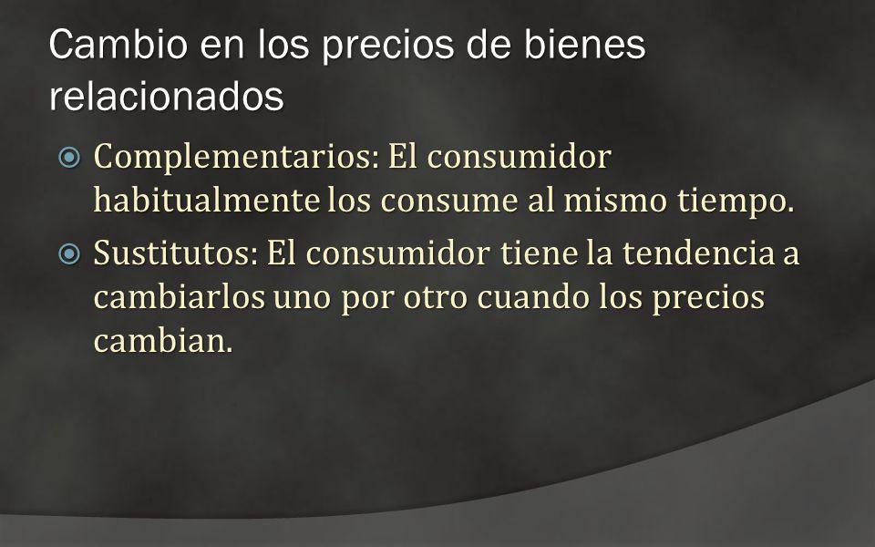 Cambio en los precios de bienes relacionados Complementarios: El consumidor habitualmente los consume al mismo tiempo. Complementarios: El consumidor