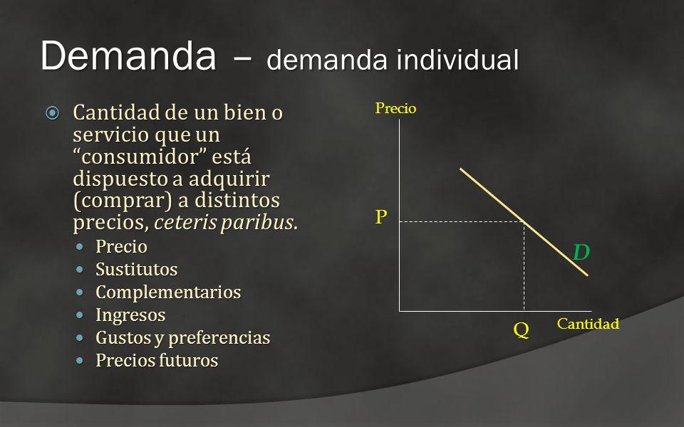 Demanda – demanda individual Cantidad de un bien o servicio que un consumidor está dispuesto a adquirir (comprar) a distintos precios, ceteris paribus
