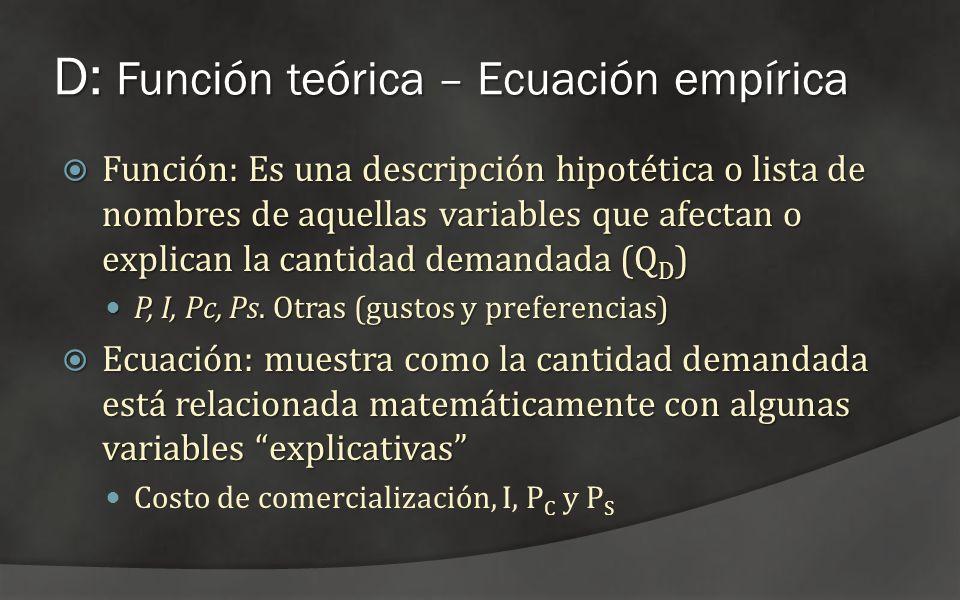 D: Función teórica – Ecuación empírica Función: Es una descripción hipotética o lista de nombres de aquellas variables que afectan o explican la canti