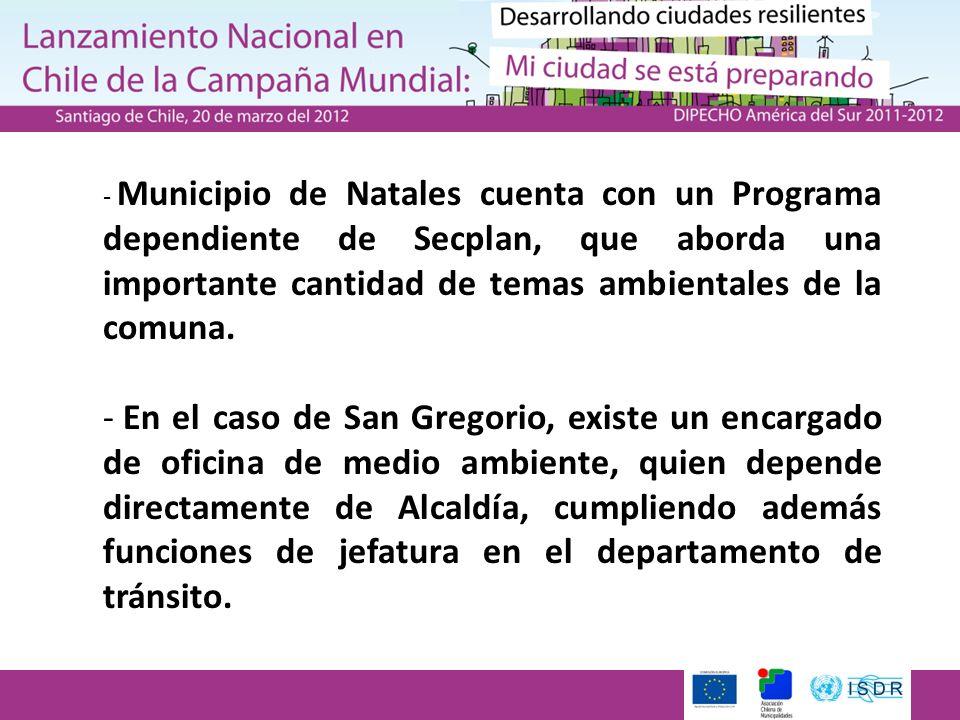 - Municipio de Natales cuenta con un Programa dependiente de Secplan, que aborda una importante cantidad de temas ambientales de la comuna. - En el ca