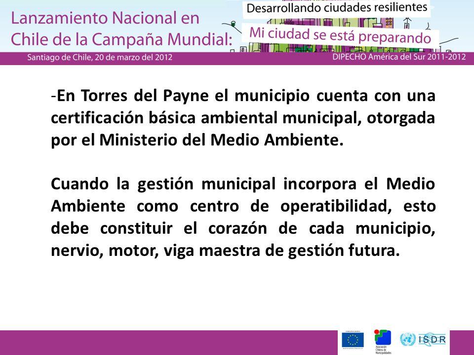 -En Torres del Payne el municipio cuenta con una certificación básica ambiental municipal, otorgada por el Ministerio del Medio Ambiente. Cuando la ge