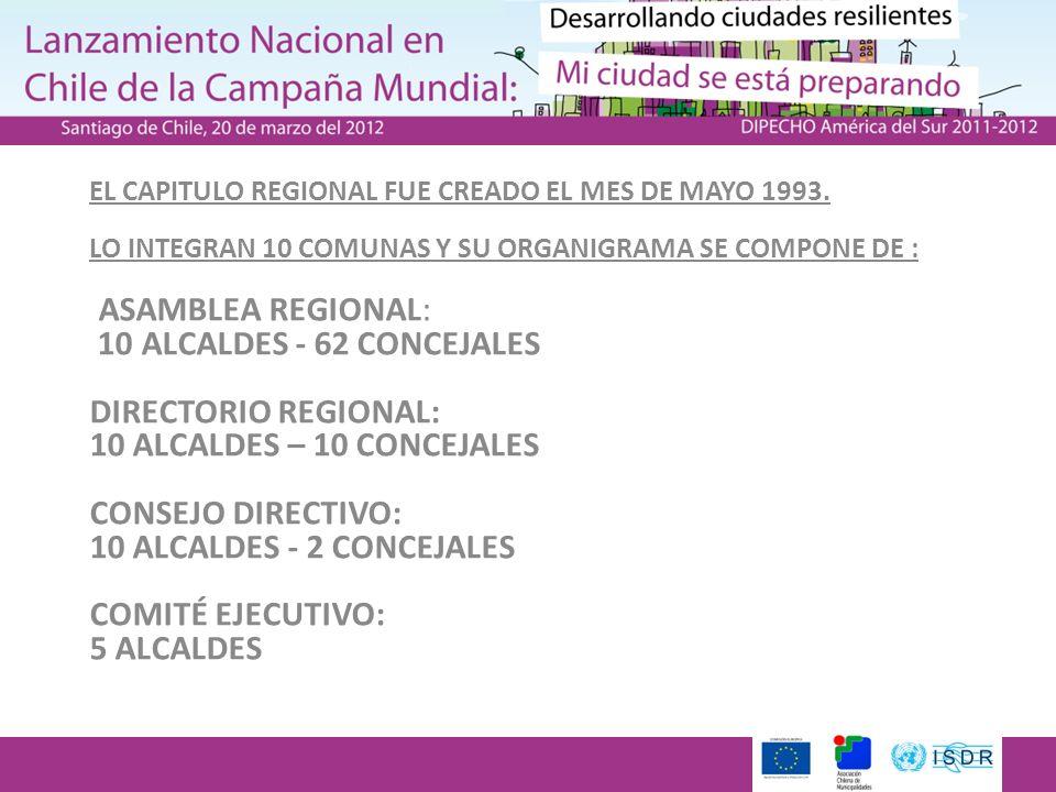 EL CAPITULO REGIONAL FUE CREADO EL MES DE MAYO 1993. LO INTEGRAN 10 COMUNAS Y SU ORGANIGRAMA SE COMPONE DE : ASAMBLEA REGIONAL: 10 ALCALDES - 62 CONCE