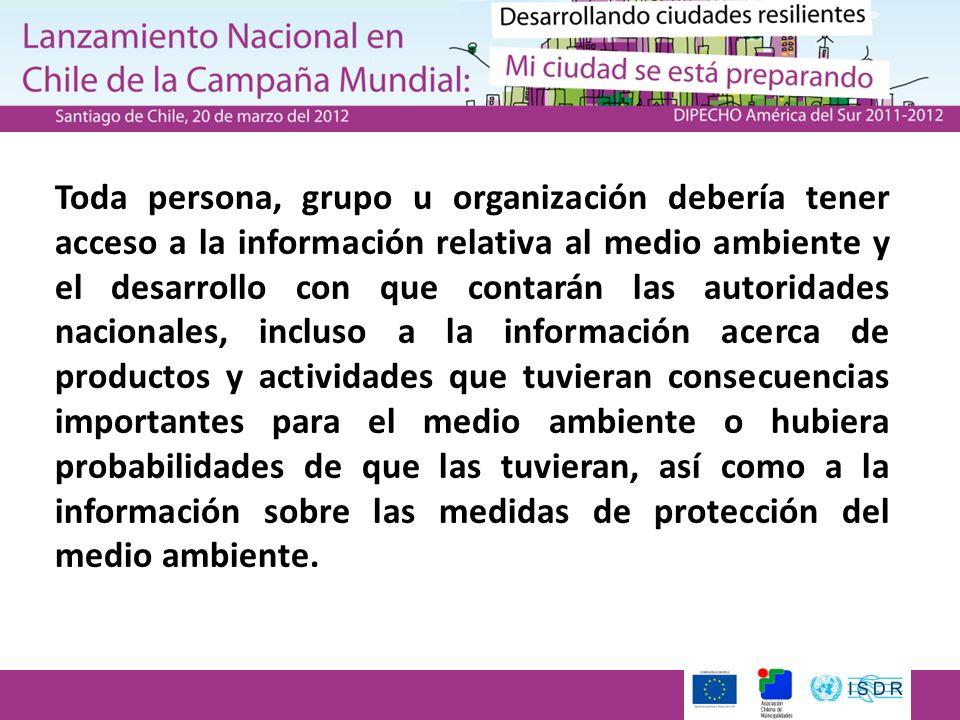Toda persona, grupo u organización debería tener acceso a la información relativa al medio ambiente y el desarrollo con que contarán las autoridades n