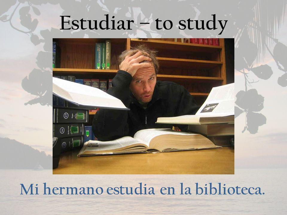 Estudiar – to study Mi hermano estudia en la biblioteca.