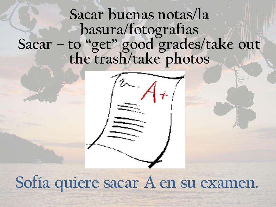 Sacar buenas notas/la basura/fotografías Sacar – to get good grades/take out the trash/take photos Sofía quiere sacar A en su examen.